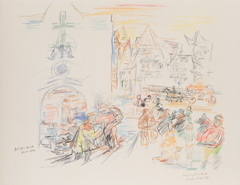 Oskar Kokoschka - Viennese Street - In the Capuchin Tomb, 2nd sheet from the cycle Comenius