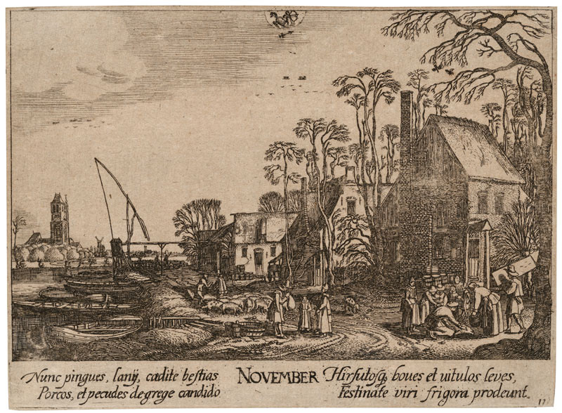 Wenceslaus Hollar - engraver, Johann Tscherningk - publisher, Jan van de Velde - inventor - November from the cycle Twelve Months