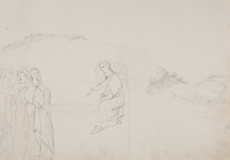 František Tkadlík - Sheet from the Southern Italian Sketchbook - landscape study; drawing after fresco The Three Marys at the Tomb in the Upper Church of the Sacro Speco Monastery in Subiaco