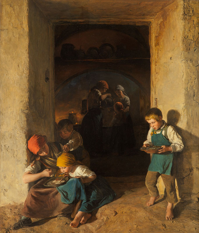 Ferdinand Georg Waldmüller - Children Receiving their Breakfast
