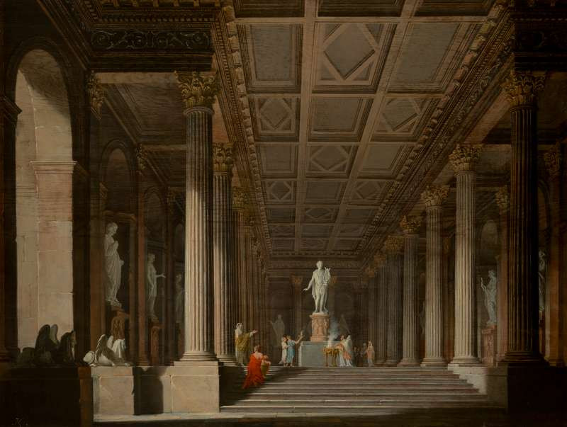 Ludvík Kohl - Interior of a Fictitious Ancient Temple with a Burnt Offering to Apollo