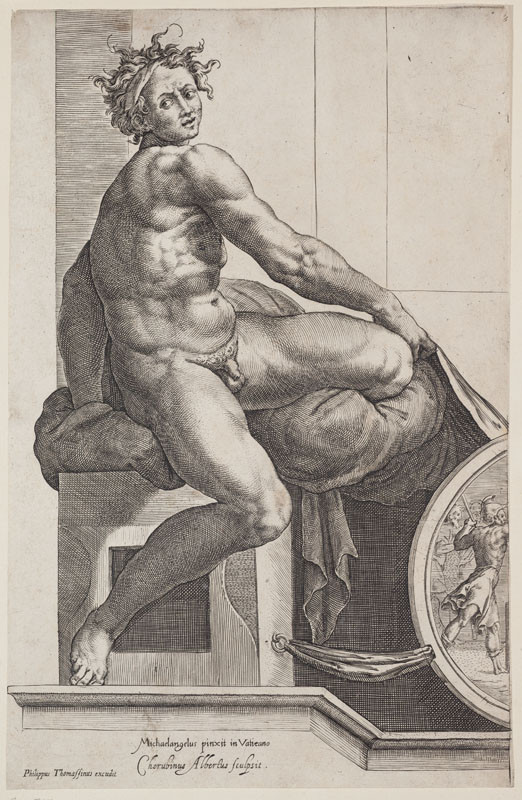 Cherubino Alberti - engraver, Michelangelo Buonarroti - inventor, Philippe Thomassin - publisher - Nude Youth (Ignudo from the ceiling of the Sistine Chapel)