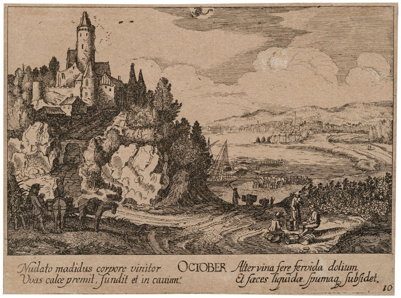 Wenceslaus Hollar - engraver, Johann Tscherningk - publisher, Jan van de Velde - inventor - October, From the cycle Twelve Months