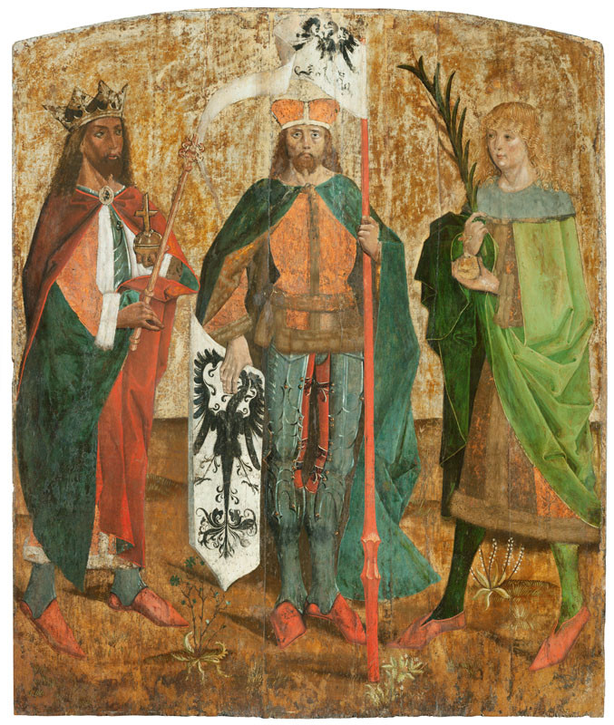Master of the Křivoklát Altarpiece - workshop - Panel with the Patron Saints of Bohemia - Ss Wenceslas, Vitus and Sigismund