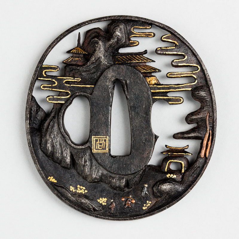 Anonymous artist - Tsuba (sword guard) decorated with Chinese-style mountainous landscape