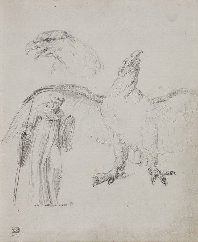 František Tkadlík - Sheet from Sketchbook C - two studies of an eagle for the painting Jupiter Tonans; the figure of a monk