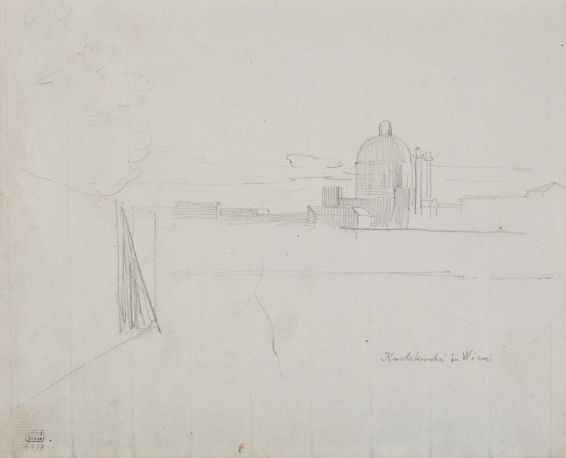 František Tkadlík - Sheet from Sketchbook C - sketch of a Viennese panorama with the Church of San Carlo Borromeo
