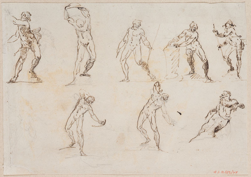 Ignaz Franz Platzer - Study of male nudes in motion
