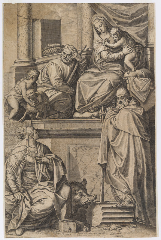 Agostino Carracci - engraver, Paolo Veronese - inventor - The Madonna with the Saints