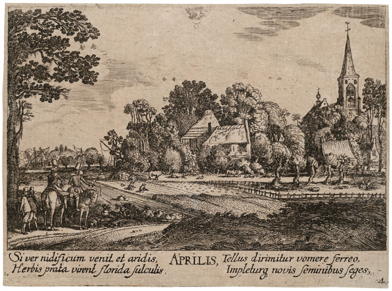 Wenceslaus Hollar - engraver, Johann Tscherningk - publisher, Jan van de Velde - inventor - April from the cycle Twelve Months