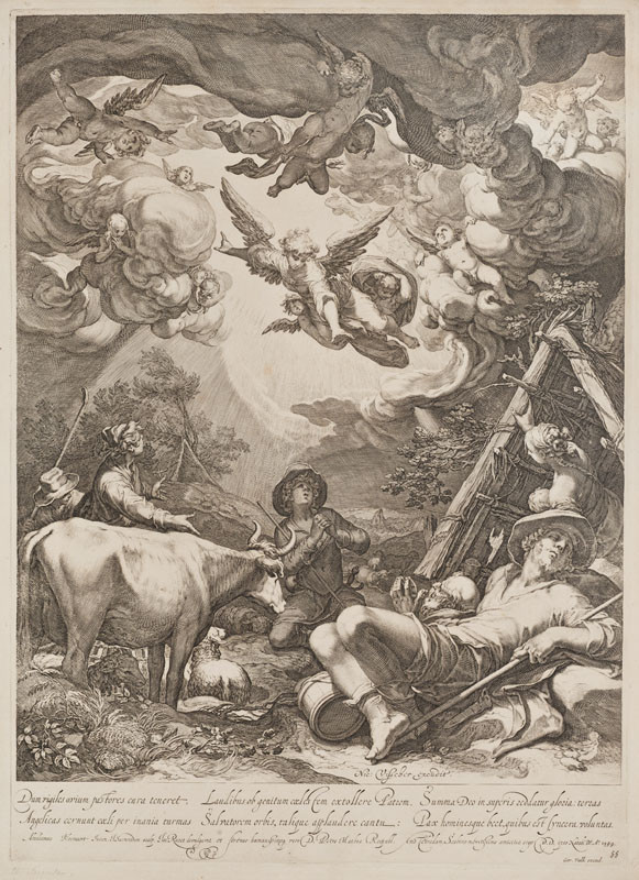 Jan Saenredam - engraver, Abraham Bloemaert - inventor - Annunciation to the Shepherds