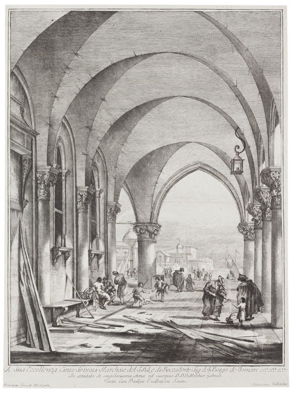 Dionysius Valesio - engraver, Francesco Guardi - inventor - The Arcade of the Doge's Palace