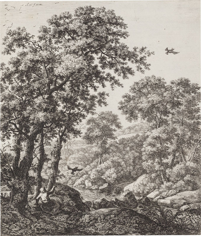 Antoni Waterloo - engraver, Antoni Waterloo - inventor - Prophet Elijah in the Wilderness Being Fed by Ravens