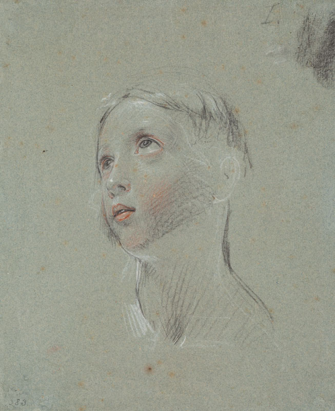 František Tkadlík - Head of a Young Girl Looking Upwards, study for the painting Christ Child with Angels