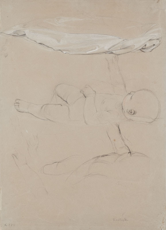 František Tkadlík, 1840 - Study of a lying down child and a mantle for the painting Madonna Adoring the Child