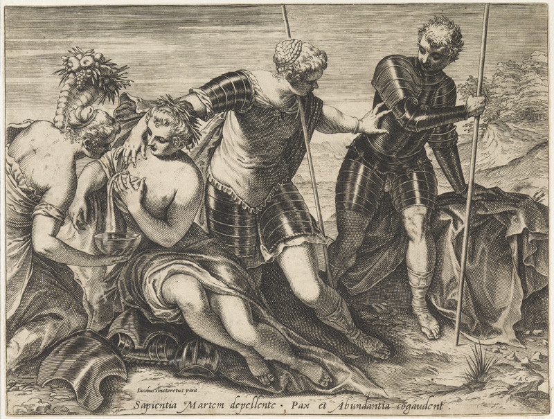 Agostino Carracci - engraver, Tintoretto - inventor - Mars Driven Away from Peace and Abundance by Minerva