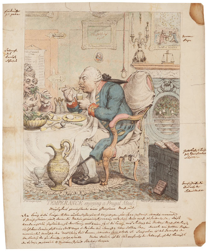 James Gillray - engraver - Temperance Enjoying a Frugal Meal