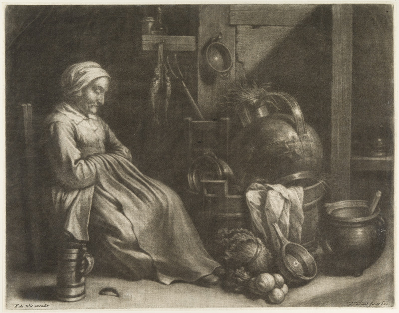 Wallerant Vaillant - engraver, David II Teniers - inventor - Sleeping Old Maid