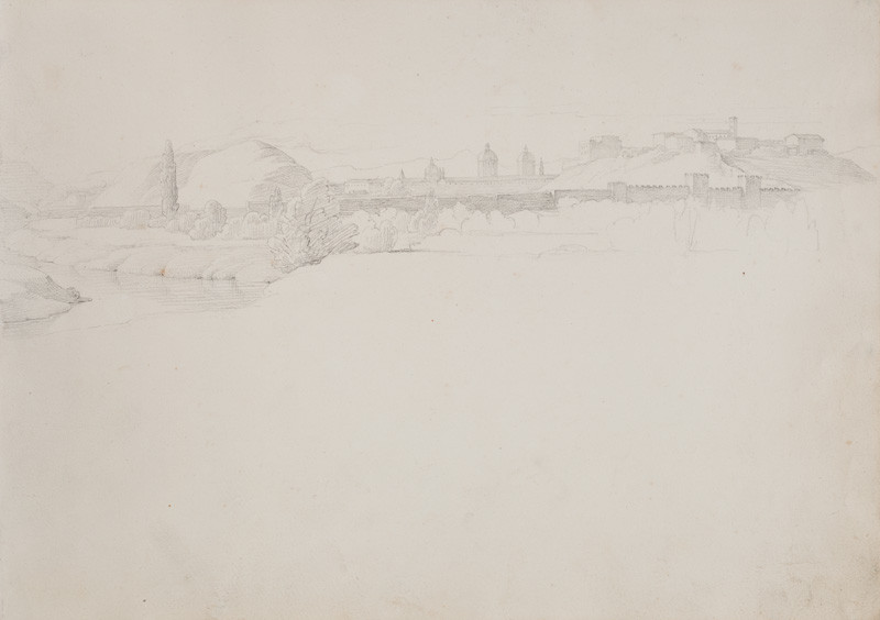 František Tkadlík - Sheet from the Southern Italian Sketchbook - view of Rome from the Tiber, looking towards Aventine Hill, reverse side: facial sketches