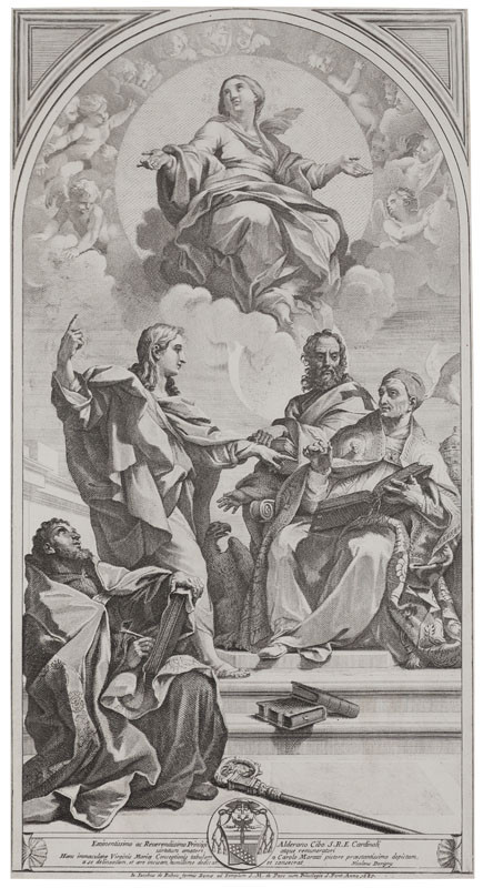 Nicolas Dorigny - engraver, Jo. Jacobus de Rubeis - publisher, Carlo Maratta - inventor - The Dispute over the Immaculate Conception of the Virgin
