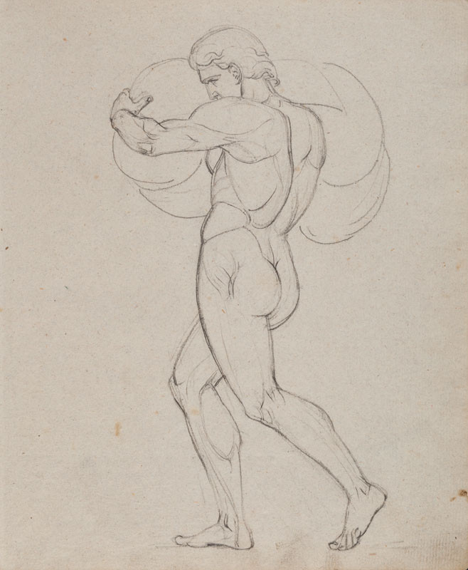 František Tkadlík - Sheet from Sketchbook A - male nude carrying a burden