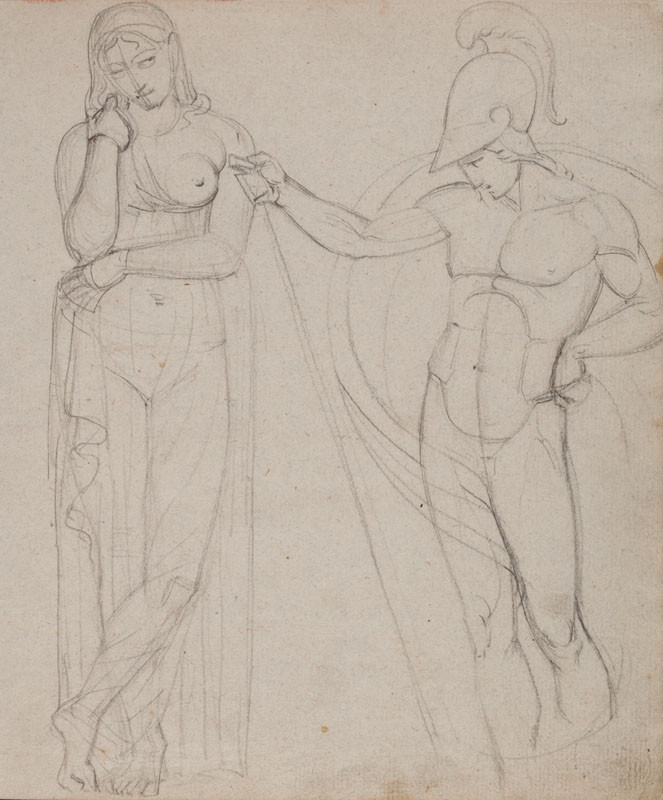 František Tkadlík - Sheet from Sketchbook A - study after the statue known as Thusnelda and a naked ancient warrior