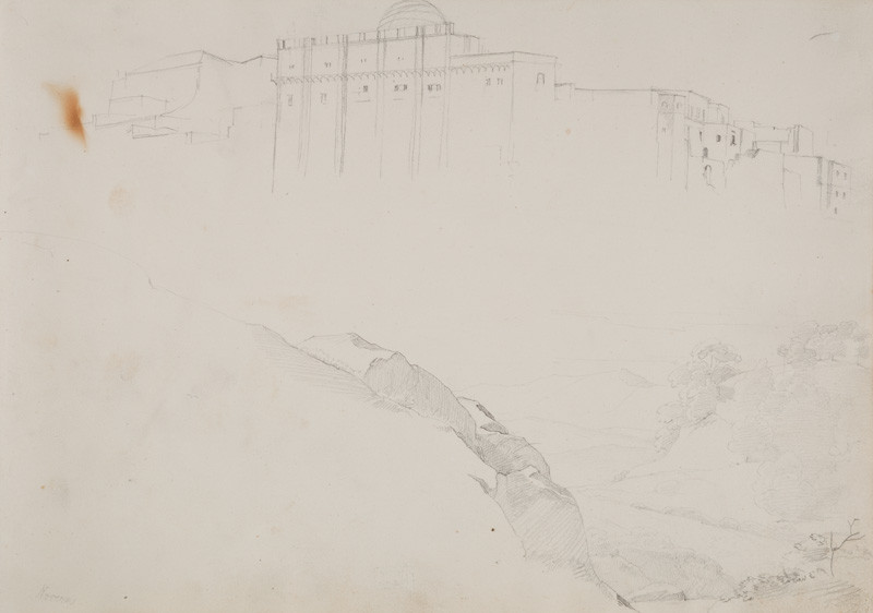 František Tkadlík - Sheet from the Southern Italian Sketchbook - view of a town and rocky landscape