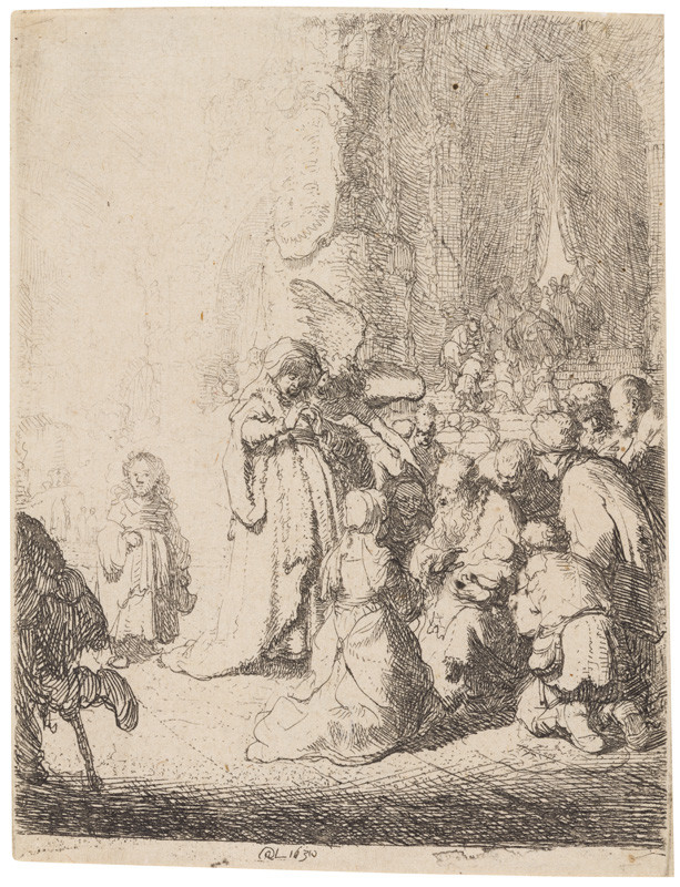 Rembrandt van Rijn - engraver - Presentation in the temple with the angel: small plate