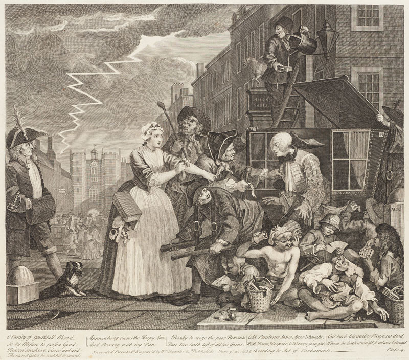 William Hogarth - engraver - A Rake's Progress IV, third stage