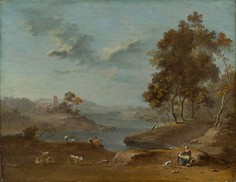 Norbert Grund - Landscape with Shepherds by a Lake I