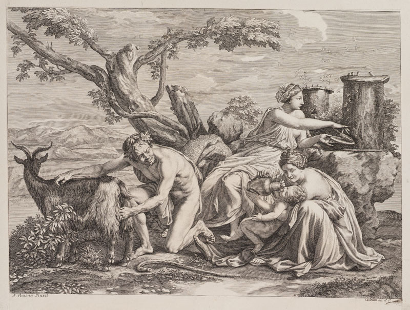 Guillaume Chasteau - engraver, Nicolas Poussin - inventor - The Infant Jupiter Nursed with the Milk of the Goat Amalthea