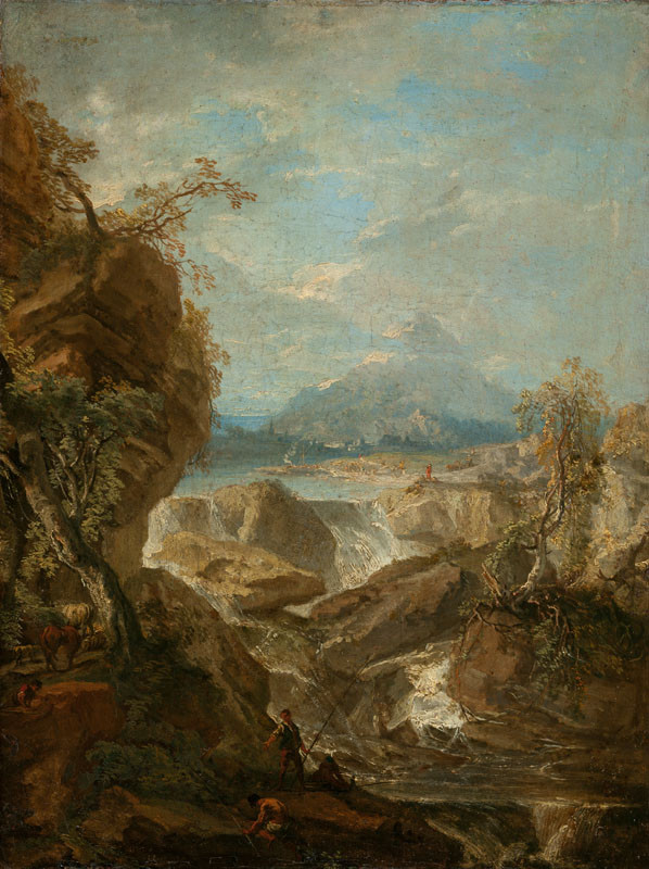 Wenzel Lorenz Reiner - Lanscape with a Waterfall and Fishermen