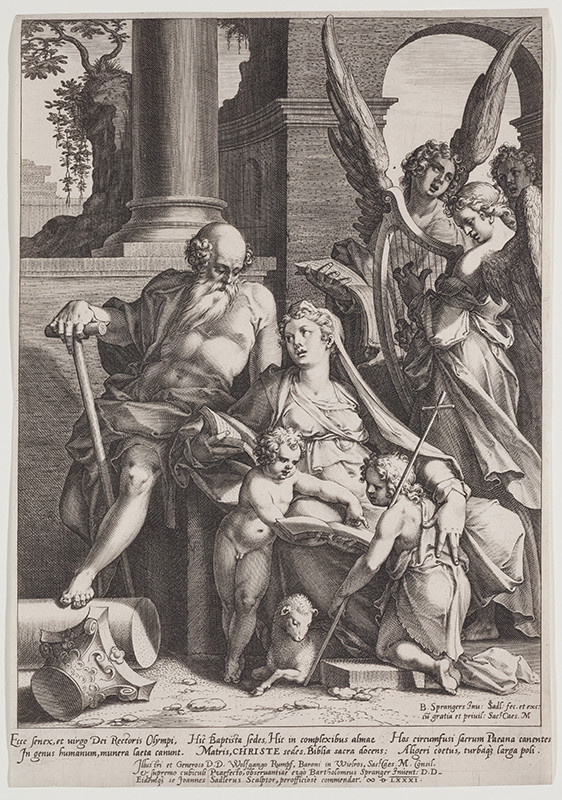 Jan Sadeler the Elder - engraver, Bartholomaeus Spranger - inventor - The Holy Family with St. John the Baptist and Three Angels