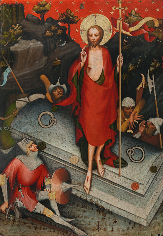 Master of the Třeboň Altarpiece - The Resurrection / SS James the Less, Bartholomew, Philip