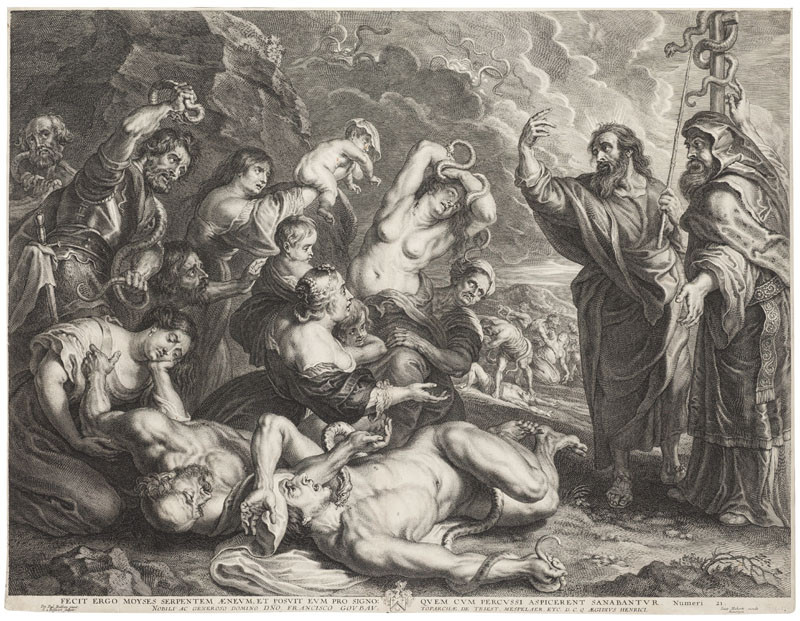 Schelte Adams Bolswert - engraver, Peter Paul Rubens - inventor - Moses with a Bronze Snake