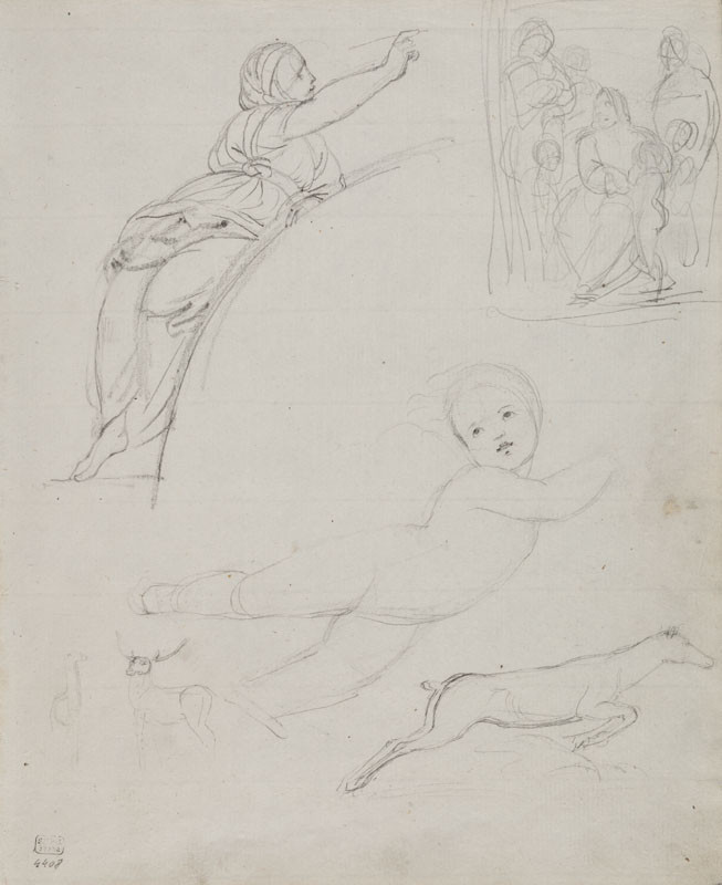 František Tkadlík - Sheet from Sketchbook C - studies after Raphael (female figure after the fresco in Santa Maria della Pace in Rome; putto after the fresco The Triumph of Galatea in the Villa Farnesina in Rome)