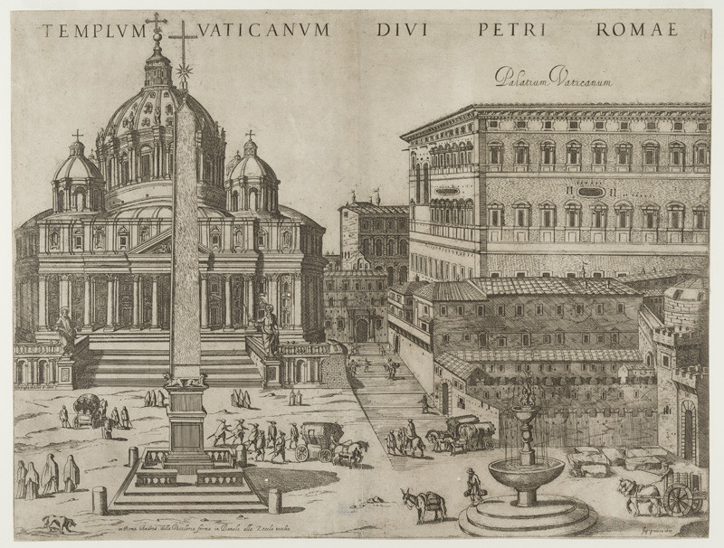 Antonio Tempesta - engraver, Giovanni Maggio - publisher - St. Peter's Basilica in Rome, From the cycle The Nine Principal Churches of Rome