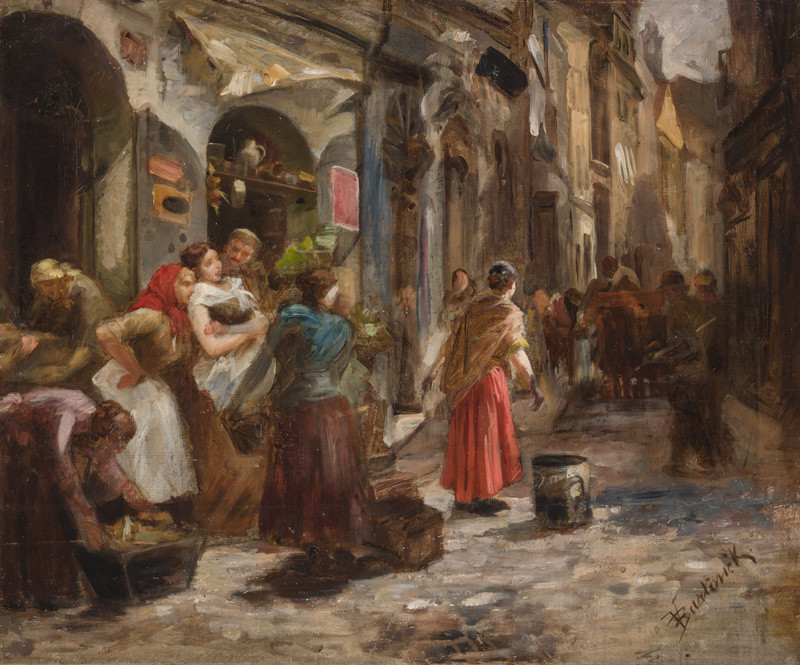 Vojtěch Bartoněk - Study for the painting From the Streets of Prague (Dustmen)
