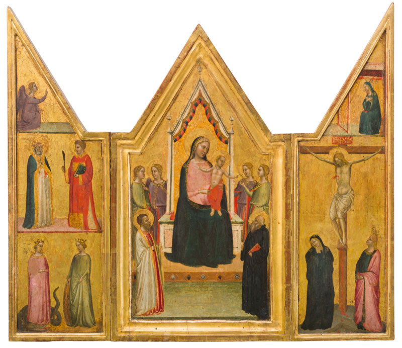 Bernardo Daddi - Triptych of the Betrothal of St. Catherine Flanked with St. Bartholomew and St. Benedict?