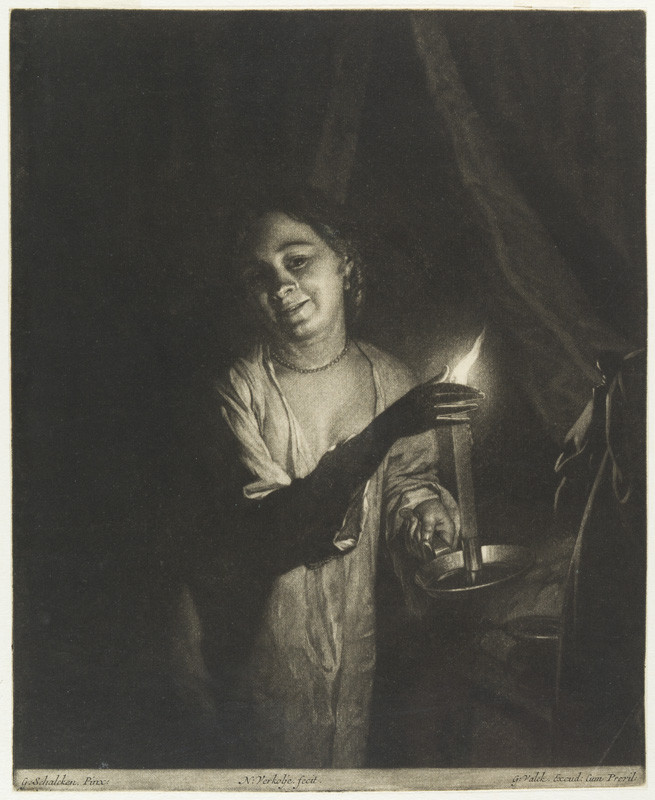 Nicolaas Verkolje - engraver, Godfried Schalcken - inventor, Gerard Valck - publisher - Young Woman Holding a Candle in a Bedchamber