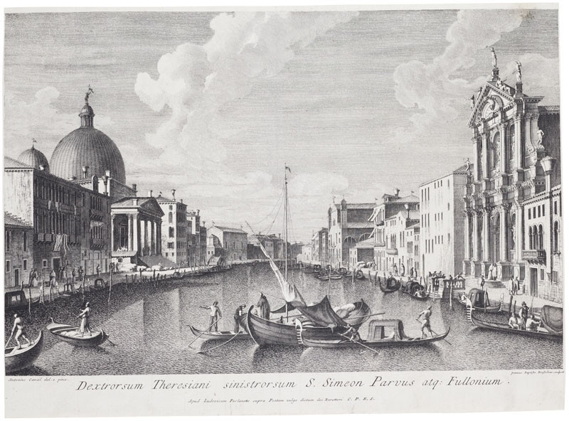 Giovanni Battista Brustolon - engraver, Antonio Canaletto - inventor - The Grand Canal with the Church of S. Simeon