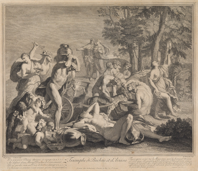 Nicolas Beauvais - engraver, Charlese Louise Chéron - inventor, Nicolas Poussin - inventor - The Triumph of Bacchus and Ariadne