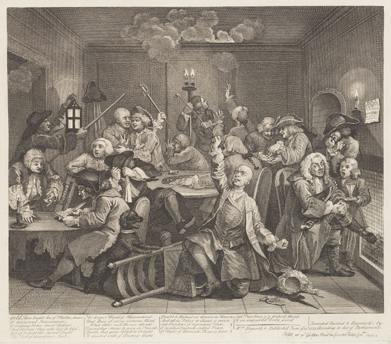 Thomas Cook - engraver, William Hogarth - inventor - A Rake's Progress VI