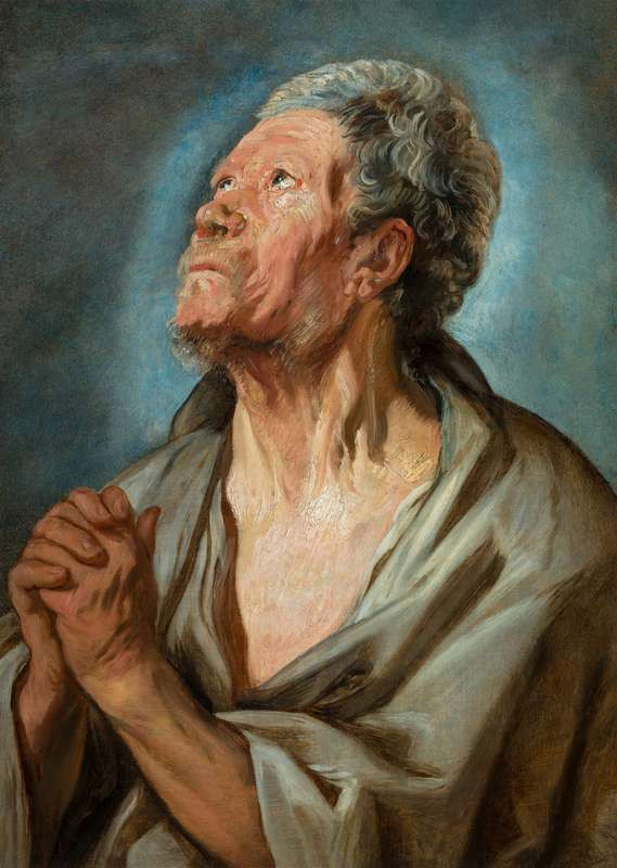 Jacob Jordaens - Study of an Old Man with Clasped Hands