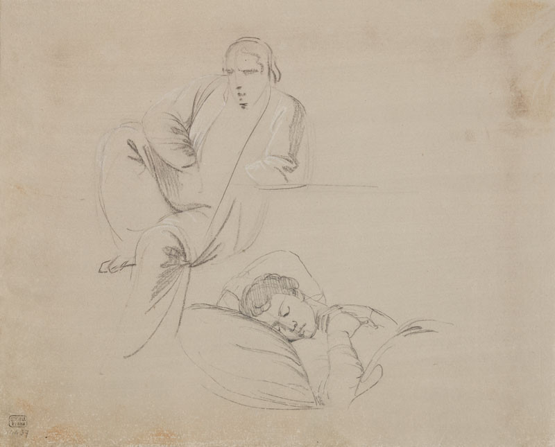 František Tkadlík - Sheet from Sketchbook C - sketch of a sitting man and a man sleeping