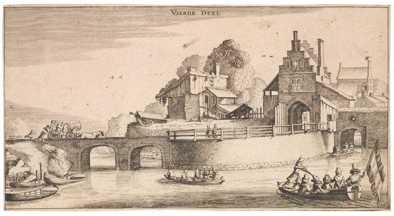 Jan van de Velde II. - engraver - Entrance to a Town, from the Landscapes series