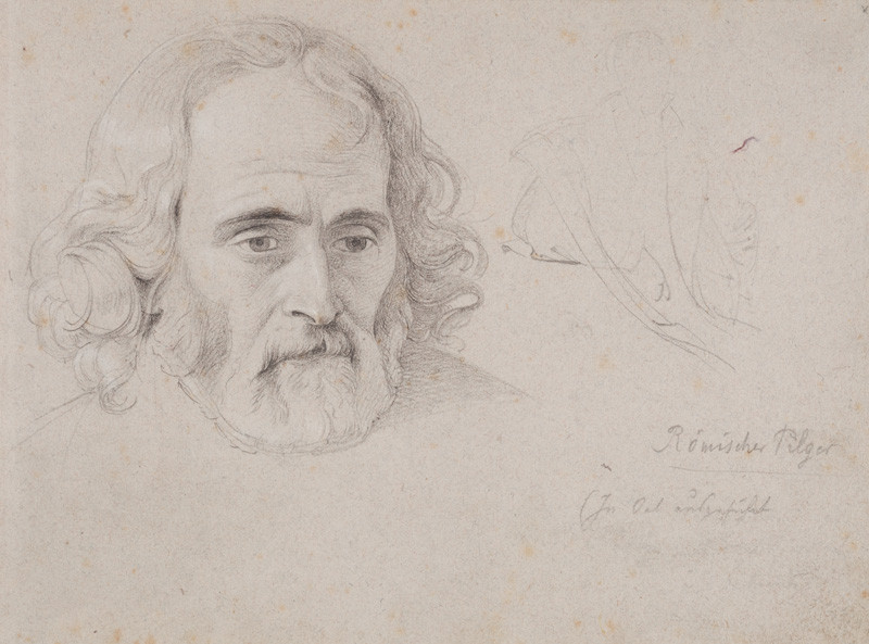 František Tkadlík - Sheet from the Southern Italian Sketchbook - Roman pilgrim, reverse side: study of a man's face
