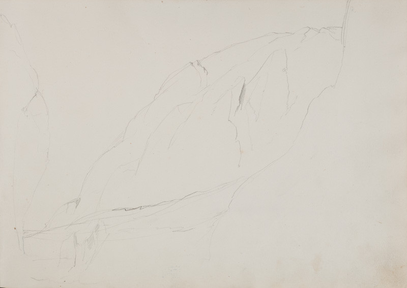 František Tkadlík - Sheet from the Southern Italian Sketchbook - sketch of a rock formation