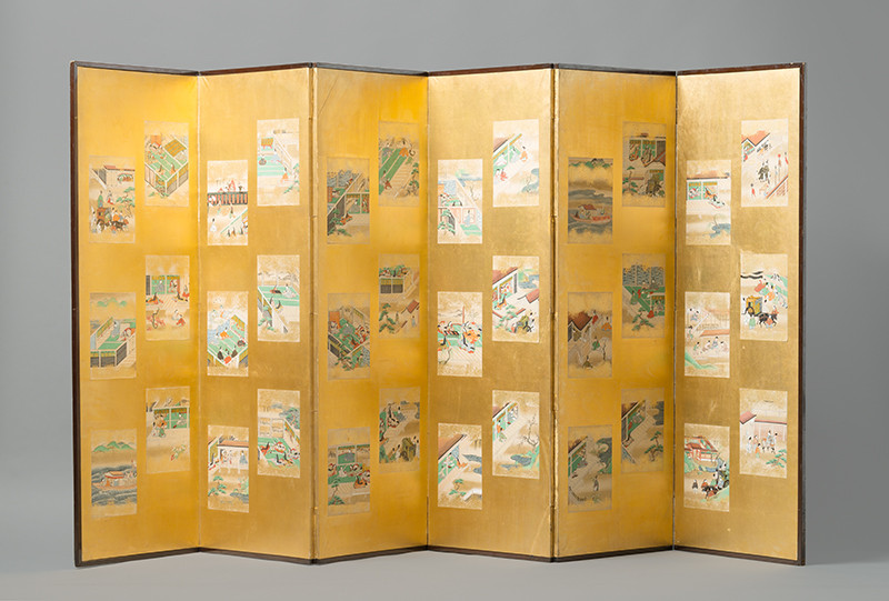 Unsigned Tosa school painter - Folding Screen with Tale of Sagoromo (Sagoromo Monogatari) Illustrations