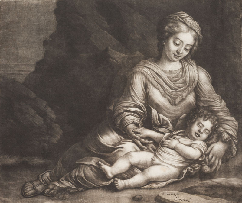Wallerant Vaillant - engraver, Parmigianino - inventor - Virgin Mary and the Sleeping Infant Jesus